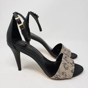 Calvin Klein black snakeskin stilleto heels 8